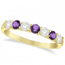 Diamond & Amethyst 7 Stone Wedding Band 14k Yellow Gold (0.75ct)