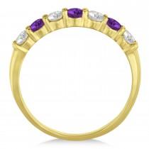 Diamond & Amethyst 7 Stone Wedding Band 14k Yellow Gold (0.75ct)