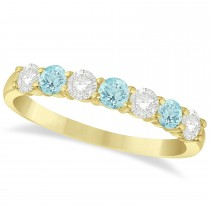 Diamond & Aquamarine 7 Stone Wedding Band 14k Yellow Gold (0.75ct)