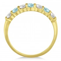 Diamond & Aquamarine 7 Stone Wedding Band 14k Yellow Gold (0.75ct)