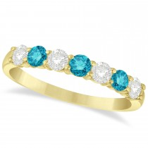 Blue & White Diamond 7 Stone Wedding Band 14k Yellow Gold (0.75ct)