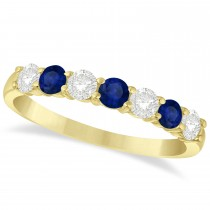Diamond & Blue Sapphire 7 Stone Wedding Band 14k Yellow Gold (0.75ct)
