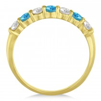 Diamond & Blue Topaz 7 Stone Wedding Band 14k Yellow Gold (0.75ct)