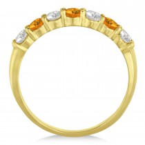 Diamond & Citrine 7 Stone Wedding Band 14k Yellow Gold (0.75ct)