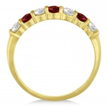Diamond & Garnet 7 Stone Wedding Band 14k Yellow Gold (0.75ct)
