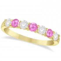 Diamond & Pink Sapphire 7 Stone Wedding Band 14k Yellow Gold (0.75ct)