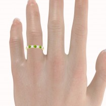 Diamond & Peridot 7 Stone Wedding Band 14k Yellow Gold (0.75ct)