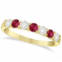 Diamond & Ruby 7 Stone Wedding Band 14k Yellow Gold (0.75ct)