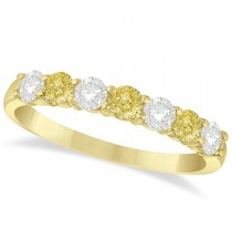 White & Yellow Diamond 7 Stone Wedding Band 14k Yellow Gold (0.75ct)