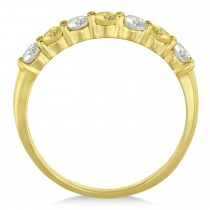 White & Yellow Diamond 7 Stone Wedding Band 14k Yellow Gold (0.75ct)