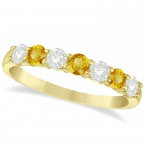 Diamond& Yellow Sapphire 7 Stone Wedding Band 14k Yellow Gold (0.75ct)