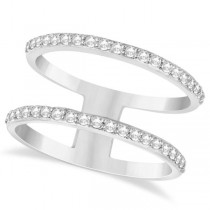 Double Open Circle Abstract Diamond Ring Band 14k White Gold 0.40ct