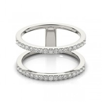 Double Open Circle Abstract Diamond Ring Band 14k White Gold 0.40ct|escape