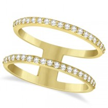 Double Open Circle Abstract Diamond Ring Band 14k Yellow Gold 0.40ct