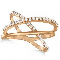 Three Band Intertwined Double X Diamond Ring 14k Rose Gold 0.42ct