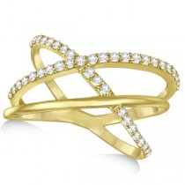 Three Band Intertwined Double X Diamond Ring 14k Yellow Gold 0.42ct