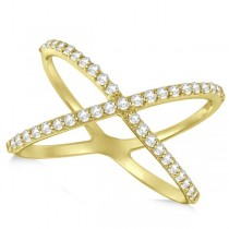 X Shaped Diamond RIng 14k Yellow Gold 0.50ct