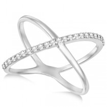 X Shaped Ring with One Row of Pave Set Diamonds 14k White Gold 0.25ct