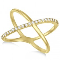 X Shaped Ring with One Row of Pave Set Diamonds 14k Yellow Gold 0.25ct