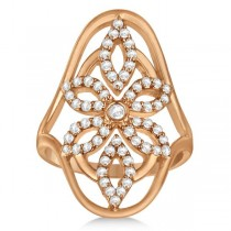Vintage Style Abstract Diamond Ring Pave Set in 14k Rose Gold 0.58ct