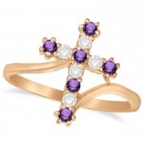 Diamond & Amethyst Religious Cross Twisted Ring 14k Rose Gold (0.33ct)
