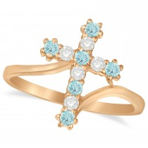Diamond & Aquamarine Religious Cross Twisted Ring 14k Rose Gold (0.33ct)