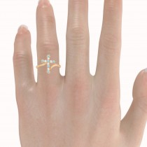 Diamond & Aquamarine Religious Cross Twisted Ring 14k Rose Gold (0.33ct)