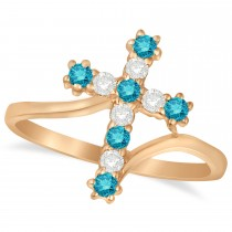 Blue & White Diamond Religious Cross Twisted Ring 14k Rose Gold (0.33ct)
