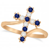 Diamond & Blue Sapphire Religious Cross Twisted Ring 14k Rose Gold (0.33ct)