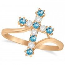 Diamond & Blue Topaz Religious Cross Twisted Ring 14k Rose Gold (0.33ct)
