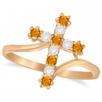 Diamond & Citrine Religious Cross Twisted Ring 14k Rose Gold (0.33ct)