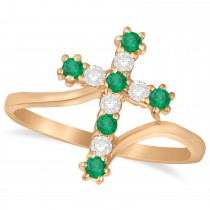 Diamond & Emerald Religious Cross Twisted Ring 14k Rose Gold (0.33ct)