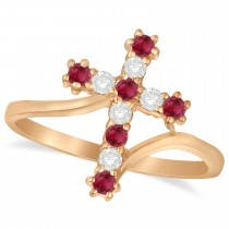 Diamond & Ruby Religious Cross Twisted Ring 14k Rose Gold (0.33ct)