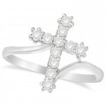 Diamond Religious Cross Twisted Ring 14k White Gold (0.33ct)