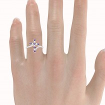 Diamond & Amethyst Religious Cross Twisted Ring 14k White Gold (0.33ct)