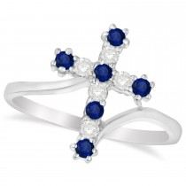Diamond & Blue Sapphire Religious Cross Twisted Ring 14k White Gold (0.33ct)