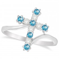 Diamond & Blue Topaz Religious Cross Twisted Ring 14k White Gold (0.33ct)