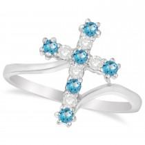 Diamond & Blue Topaz Religious Cross Twisted Ring 14k White Gold (0.33ct)