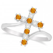 Diamond & Citrine Religious Cross Twisted Ring 14k White Gold (0.33ct)