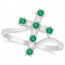 Diamond & Emerald Religious Cross Twisted Ring 14k White Gold (0.33ct)