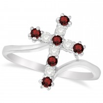 Diamond & Garnet Religious Cross Twisted Ring 14k White Gold (0.33ct)