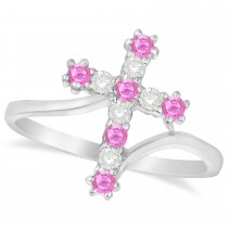Diamond & Pink Sapphire Religious Cross Twisted Ring 14k White Gold (0.33ct)