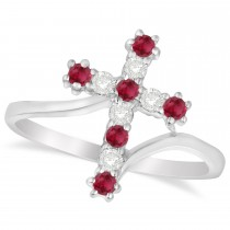 Diamond & Ruby Religious Cross Twisted Ring 14k White Gold (0.33ct)