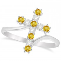 Diamond & Yellow Sapphire Religious Cross Twisted Ring 14k White Gold (0.33ct)