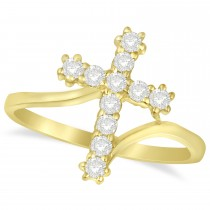 Diamond Religious Cross Twisted Ring 14k Yellow Gold (0.33ct)