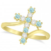 Diamond & Aquamarine Religious Cross Twisted Ring 14k Yellow Gold (0.33ct)