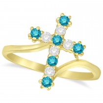 Blue & White Diamond Religious Cross Twisted Ring 14k Yellow Gold (0.33ct)
