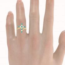 Blue & White Diamond Religious Cross Twisted Ring 14k Yellow Gold (0.33ct)