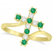 Diamond & Emerald Religious Cross Twisted Ring 14k Yellow Gold (0.33ct)