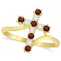 Diamond & Garnet Religious Cross Twisted Ring 14k Yellow Gold (0.33ct)